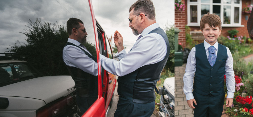 Groom getting ready outside his house in Misson Nottinghamshire