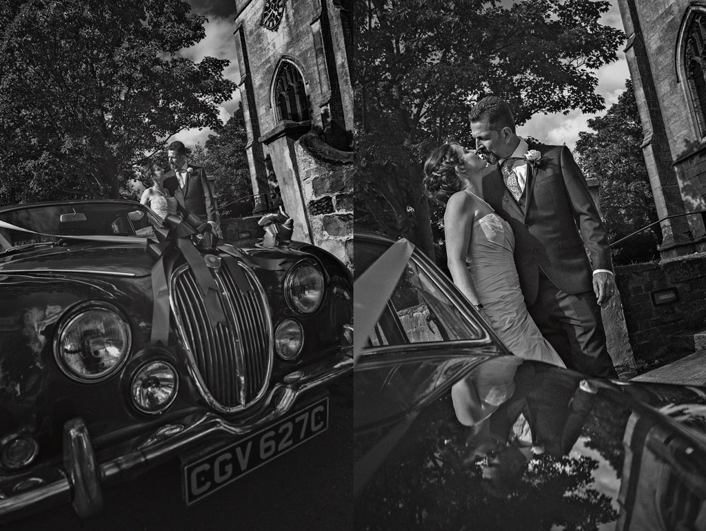 Bride and groom with wedding car in Misson Nottinghamshire