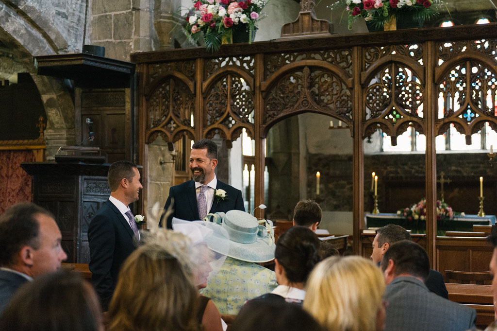 Groom and best man at St John the Baptist's church in Misson, Nottinghamshire