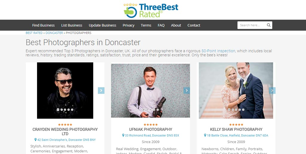 Three best photographers in Doncaster