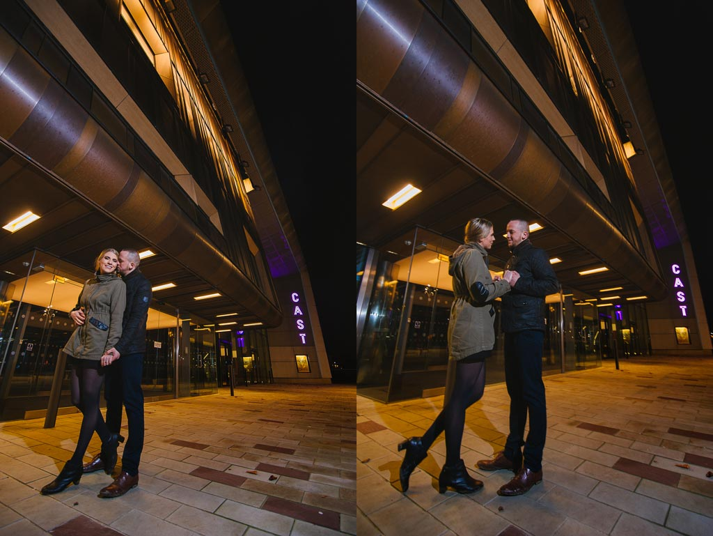 Newly engaged couple outside Cast theatre in Doncaster, South Yorkshire