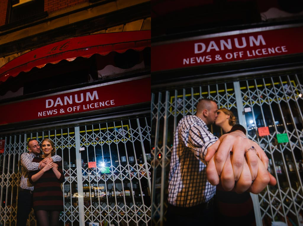Newly engaged couple outside Danum News Agents in Doncaster South Yorkshire