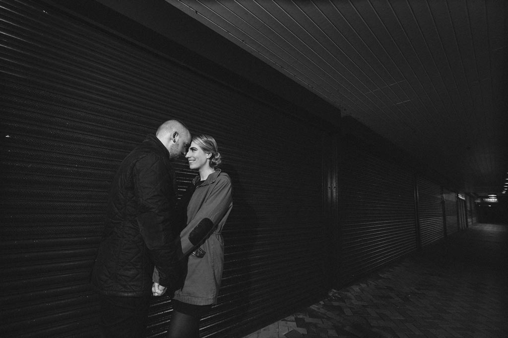 Newly engaged couple in Waterdale Shopping Centre in Doncaster at hight