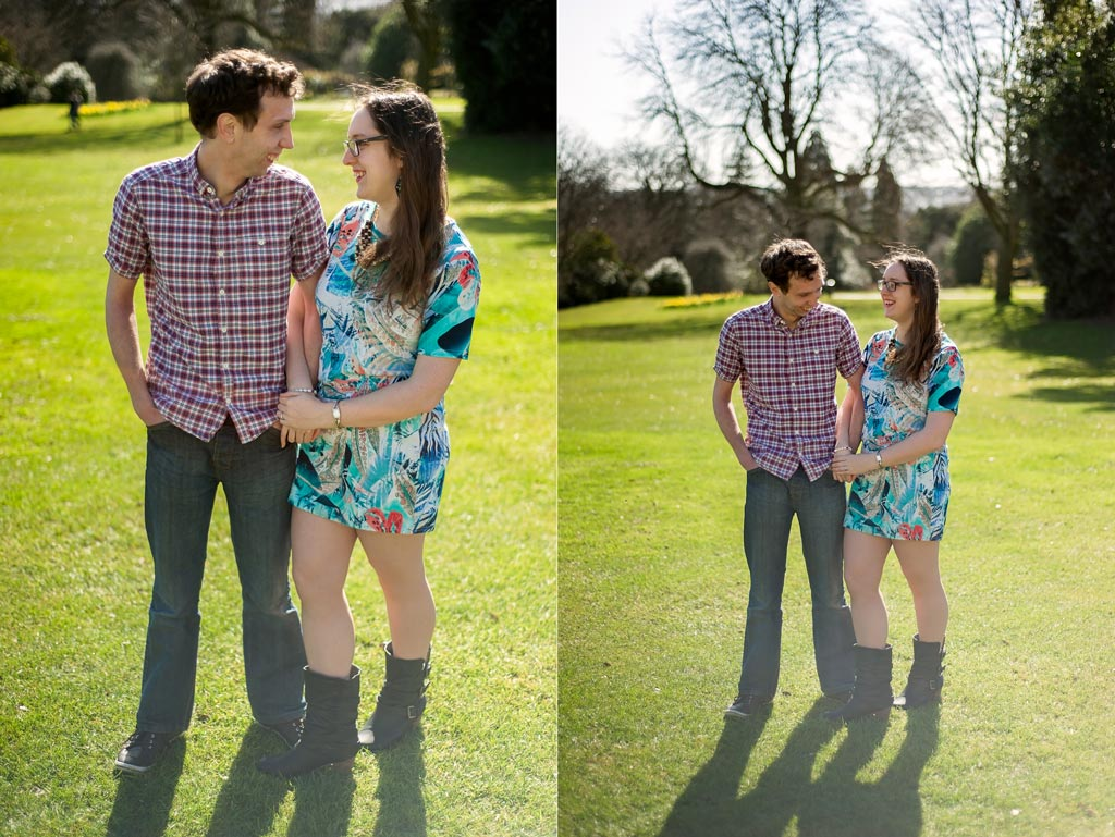 Engages couple during a photo session at Sheffield Botanical Gardens