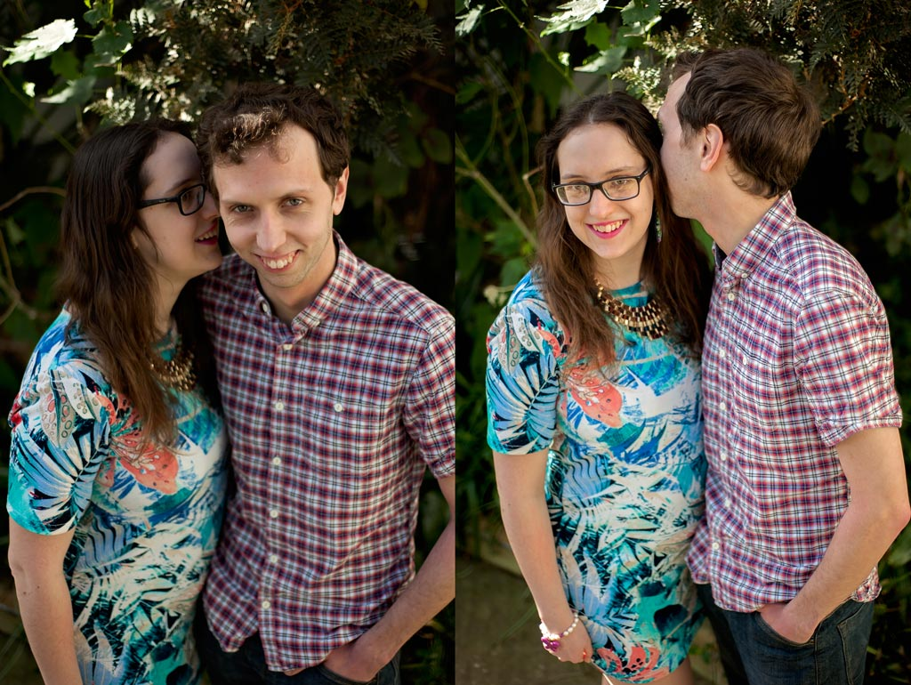 Portrait of an engaged couple at Sheffield Botanical Gardens