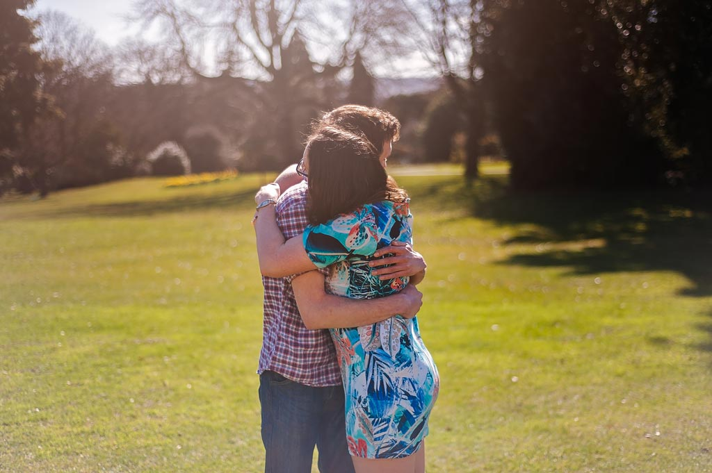 Loving couple at Engagement photography Sheffield Botanical Gardens