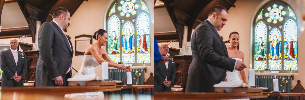 Bride and groom lighting candles in Epworth church
