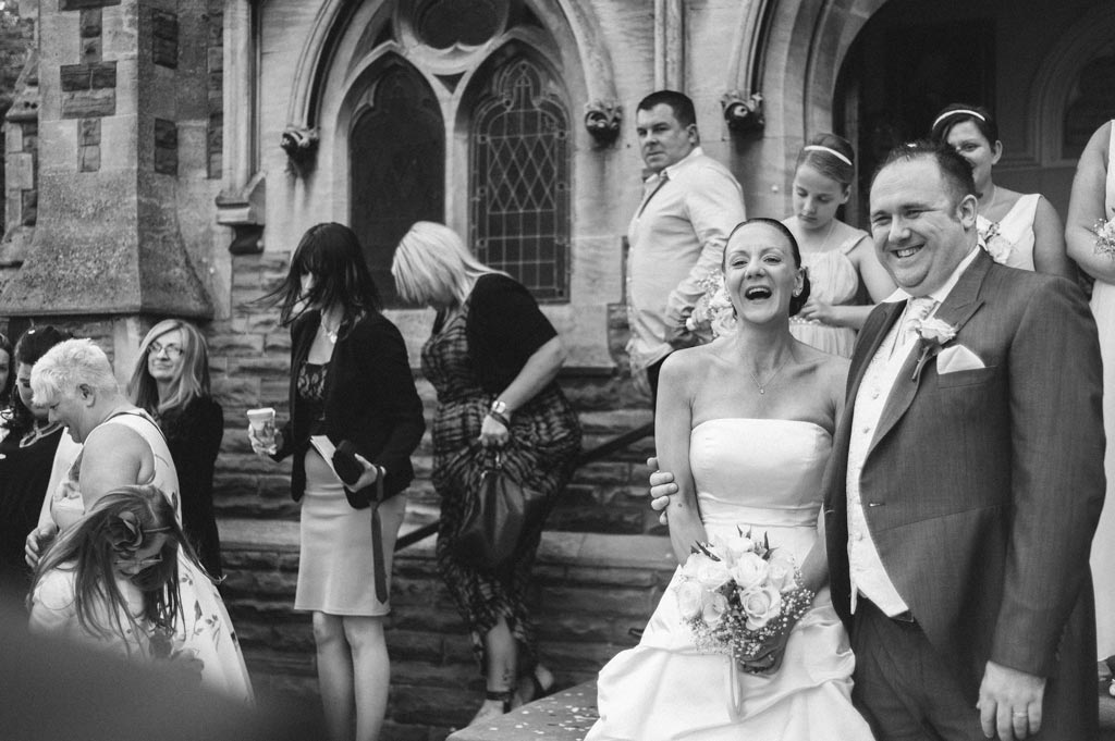 Bride and groom outside church in Epworth