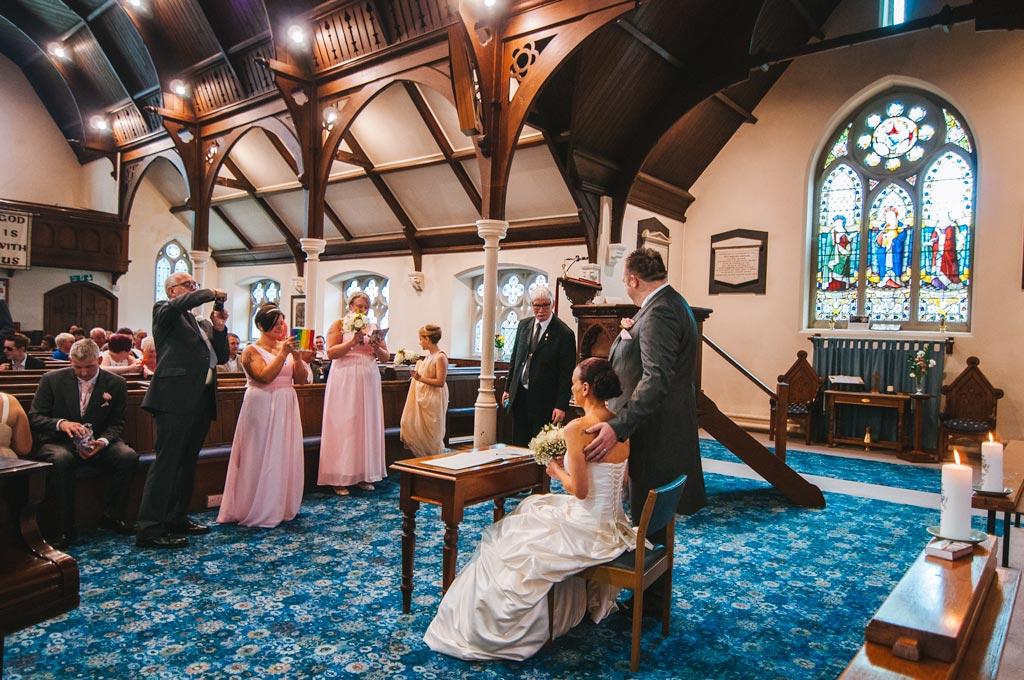 Formal wedding pictures at Wesley Memorial Methodist Church in Epworth Lincolnshire