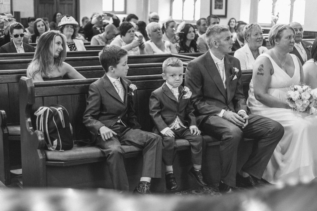 Pageboys during a wedding ceremony in Lincolnshire