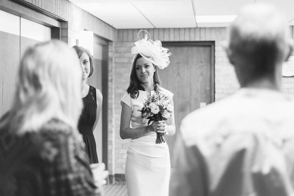 Bride before a wedding ceremony at register office in Doncaster