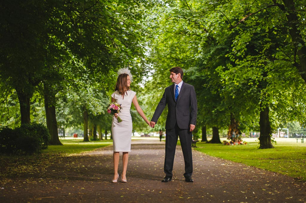 Bride and groom in Elmfield Park in Doncaster South Yorkshire