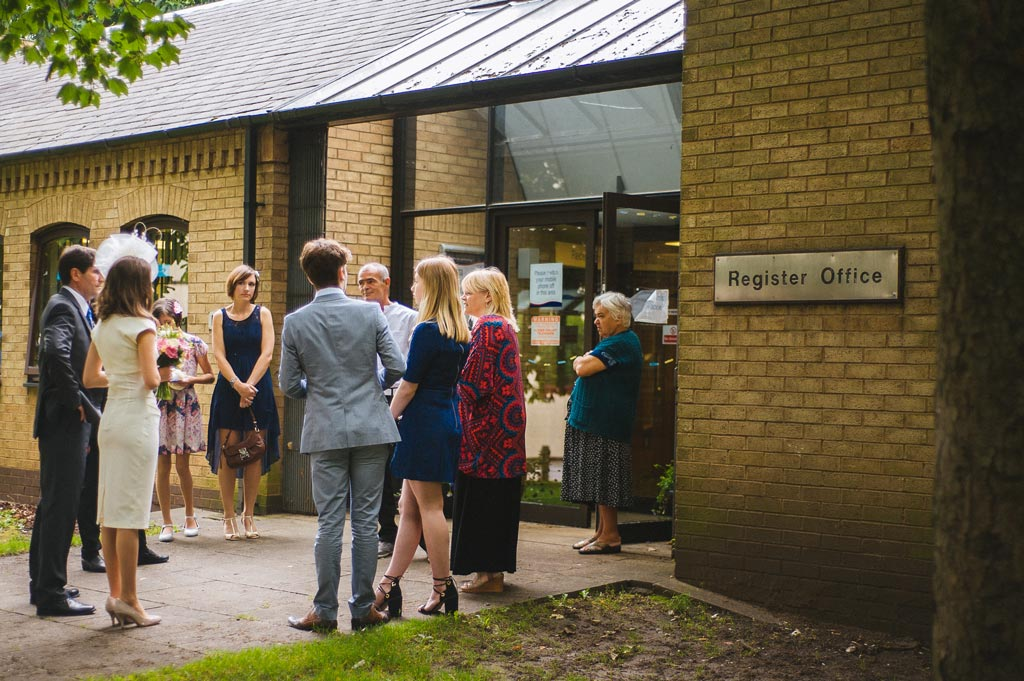 Wedding guests waiting outside Doncaster register office