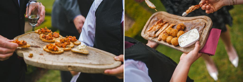 Snacks being served at a wedding at The Parsonage Hotel York