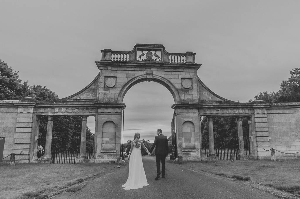 Bride and groom at Clumber Park in Worksop