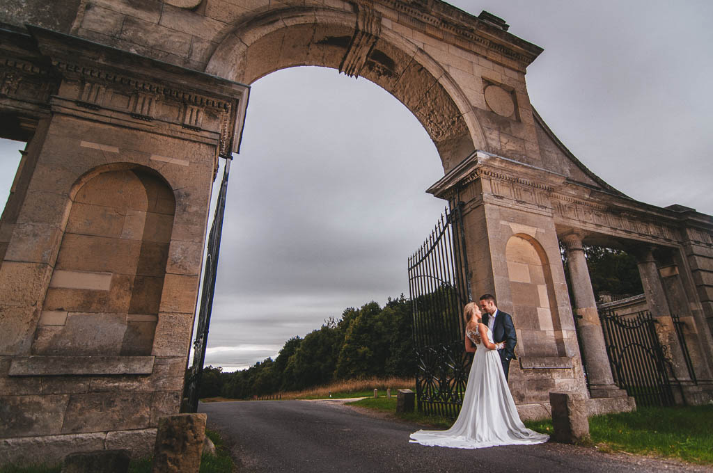 Bride and groom during a photo shoot at Clumber park