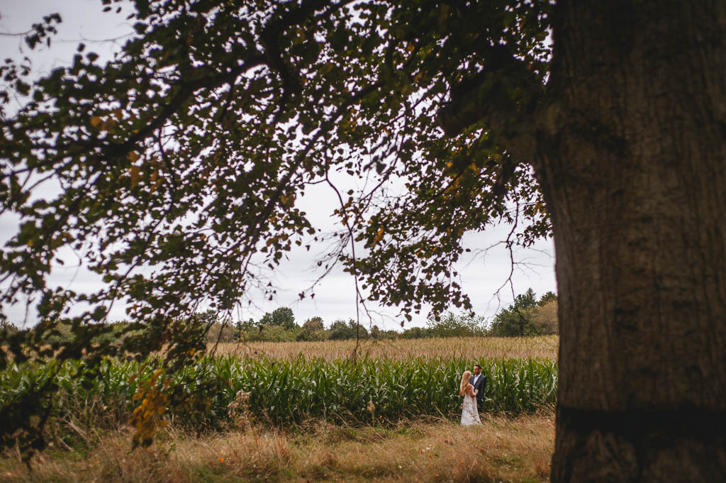 Bride and groom in a field
