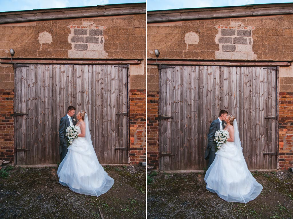 Bride and groom at a farm
