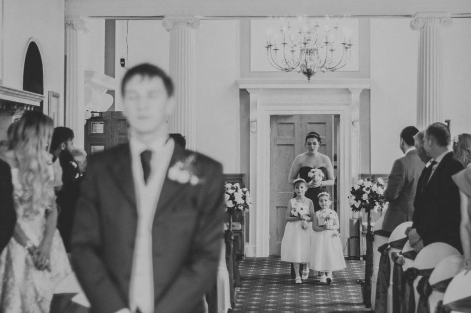 Bride walking down aisle at The Stables South Yorkshire