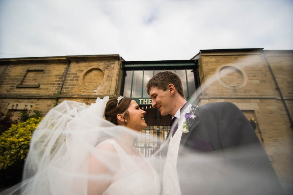 Bride and Groom outside The Stables in South Yorkshire