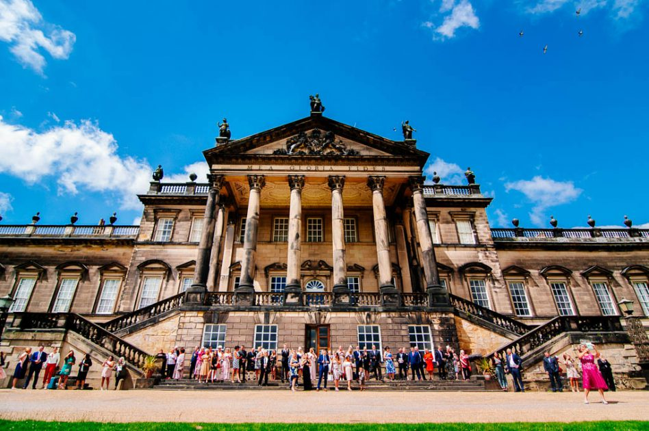Wedding guests arriving at Wentworth Woodhouse