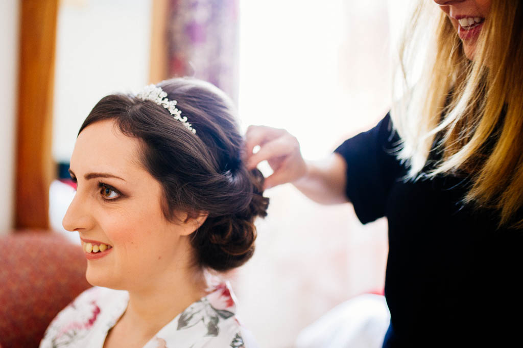 Bride getting ready at Wortley Hall in Sheffield
