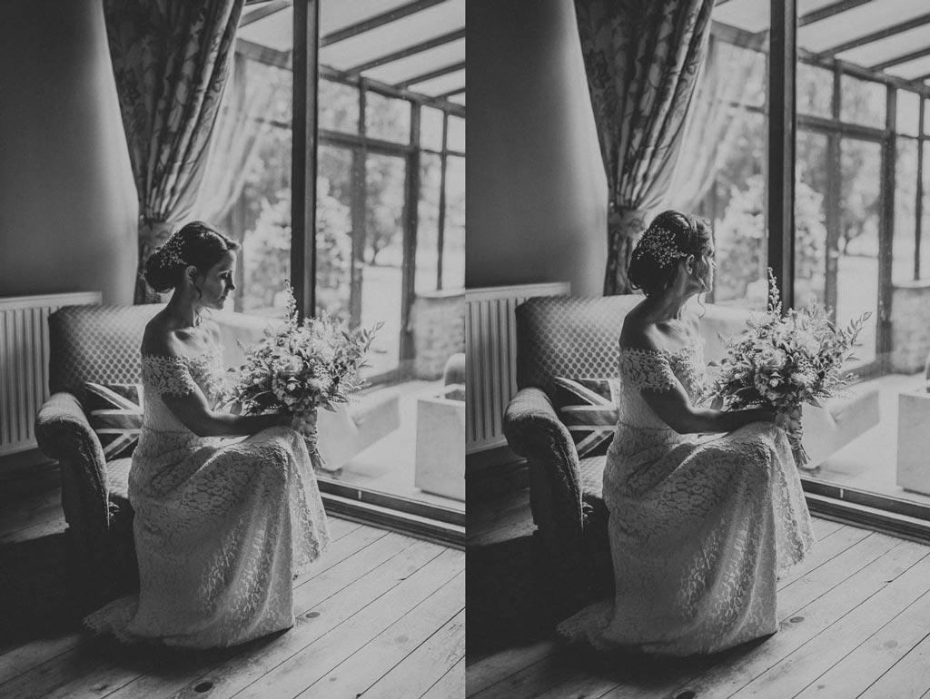 Portrait of a bride in front of a window