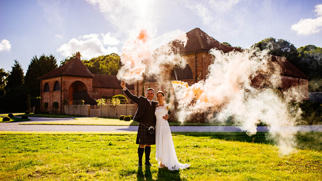 Colorful smoke bomb wedding photography