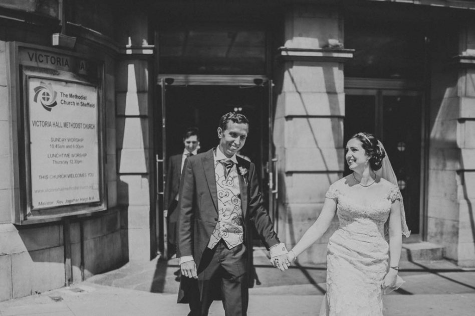 Newly married couple at Victoria Hall Methodist Church in Sheffield