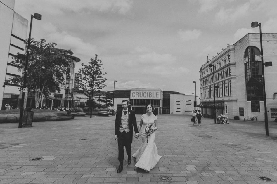 Wedding photography outside The Crucible in Sheffield