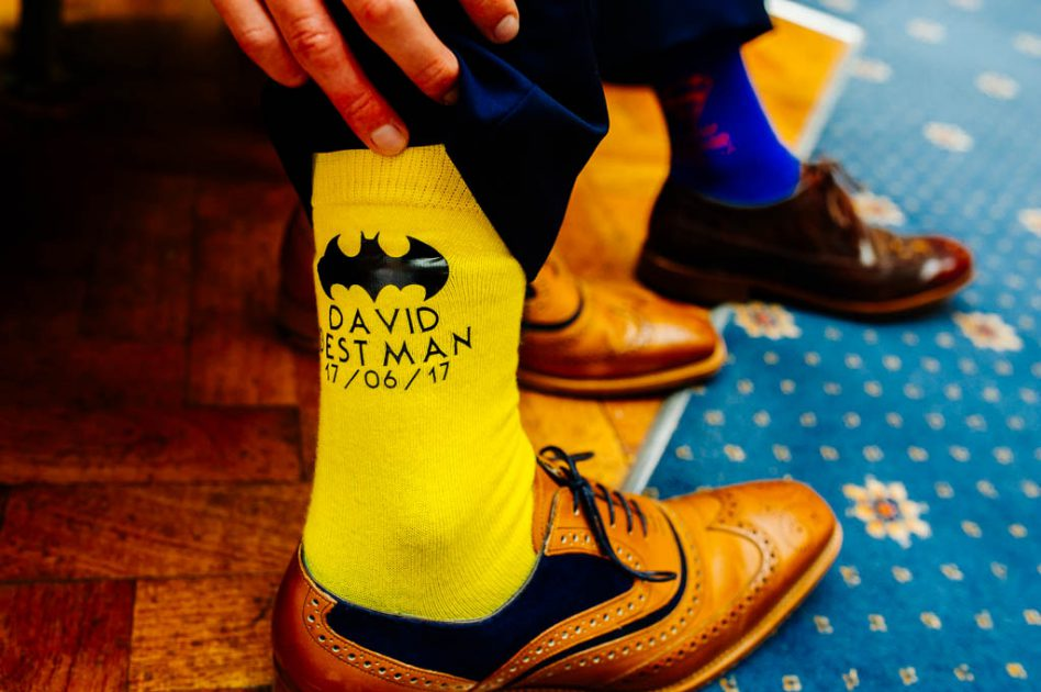 Wedding superhero socks