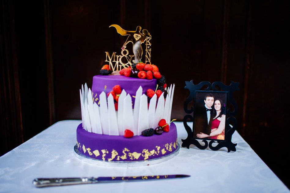 Superhero themed wedding cake at Wortley Hall