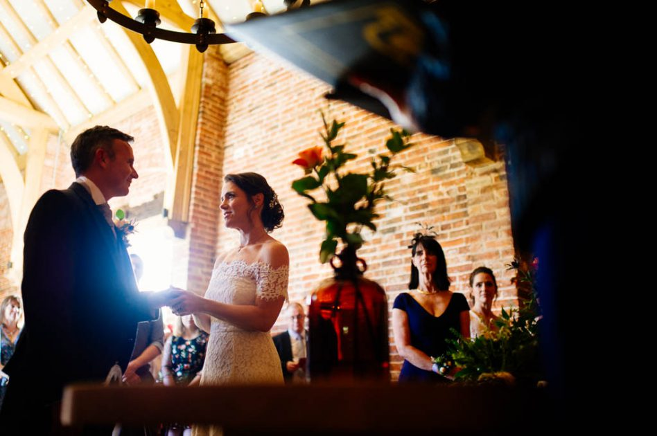 Wedding ceremony at Hazel Gap wedding Barn