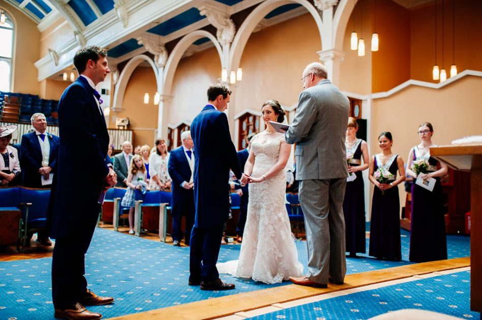 Wedding ceremony at Victoria Hall Methodist Church in Sheffield