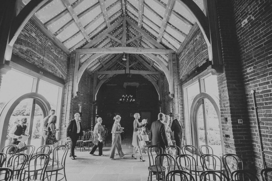 Wedding guests arriving at Hazel Gap Wedding Barn in Nottinghamshire
