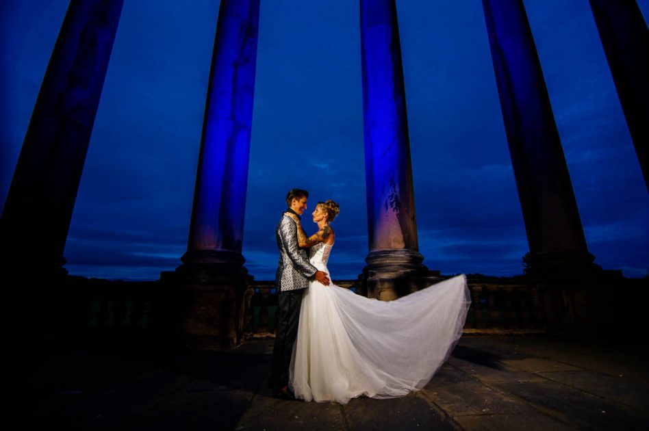 Nighttime wedding photos at Wentworth Woodhouse