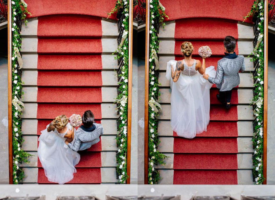 Two brides walking up stairs at wentworth woodhouse