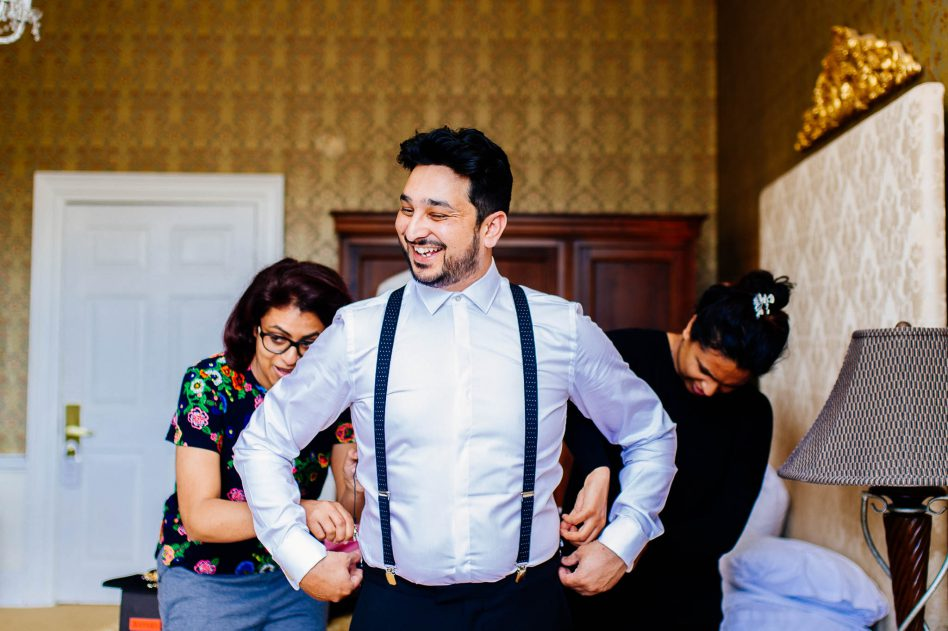 Groom getting ready for a wedding at Colwick Hall