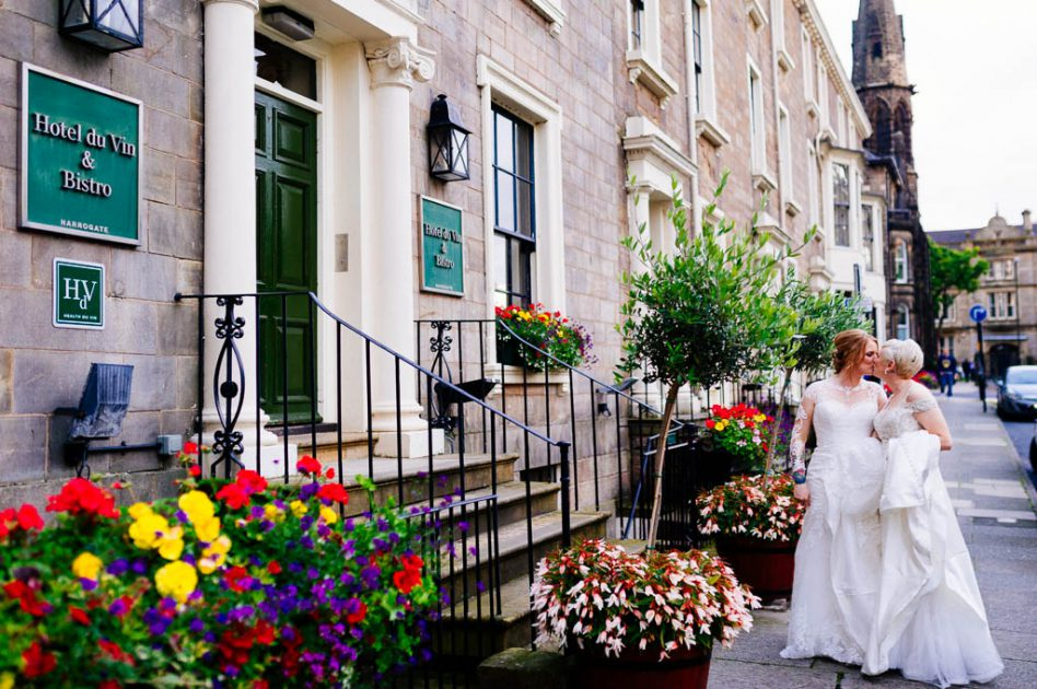 Brides outside Hotel du Vin in Harrogate