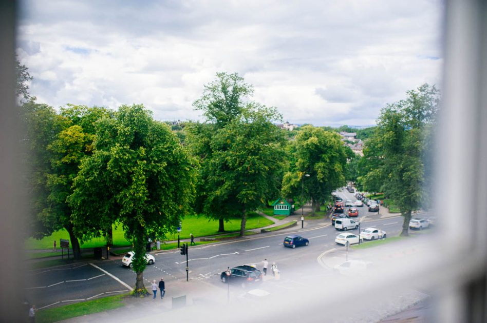 A view from a bridal suite at Hotel du Vin Harrogate wedding