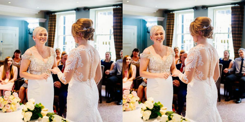 Two brides getting married at Hotel du Vin Harrogate wedding