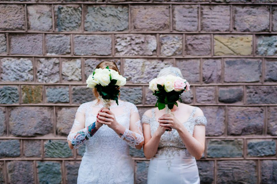 Brides holding flowers