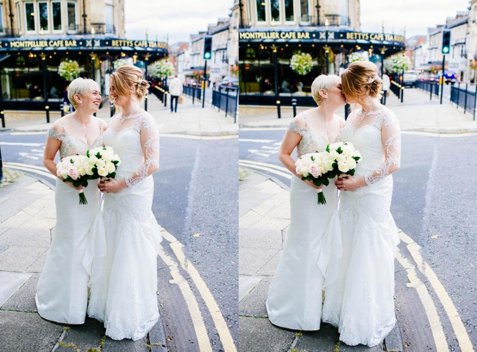 Brides outside Betty's in Harrogate