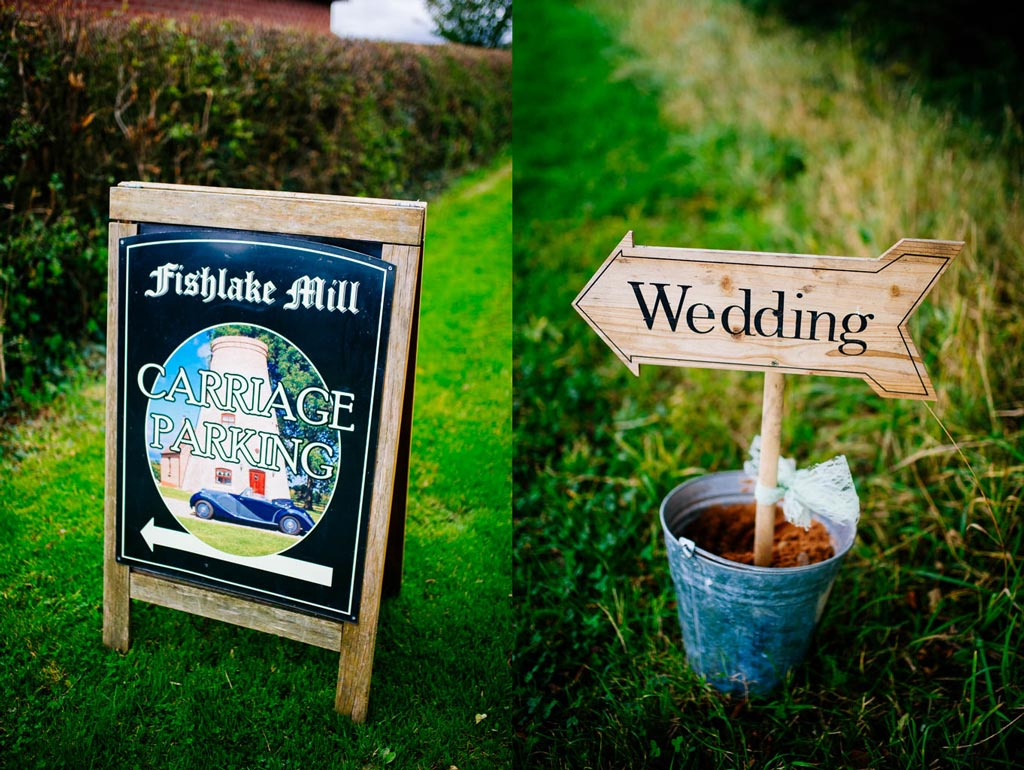 Wedding signs at Fishlake Mill in South Yorkshire