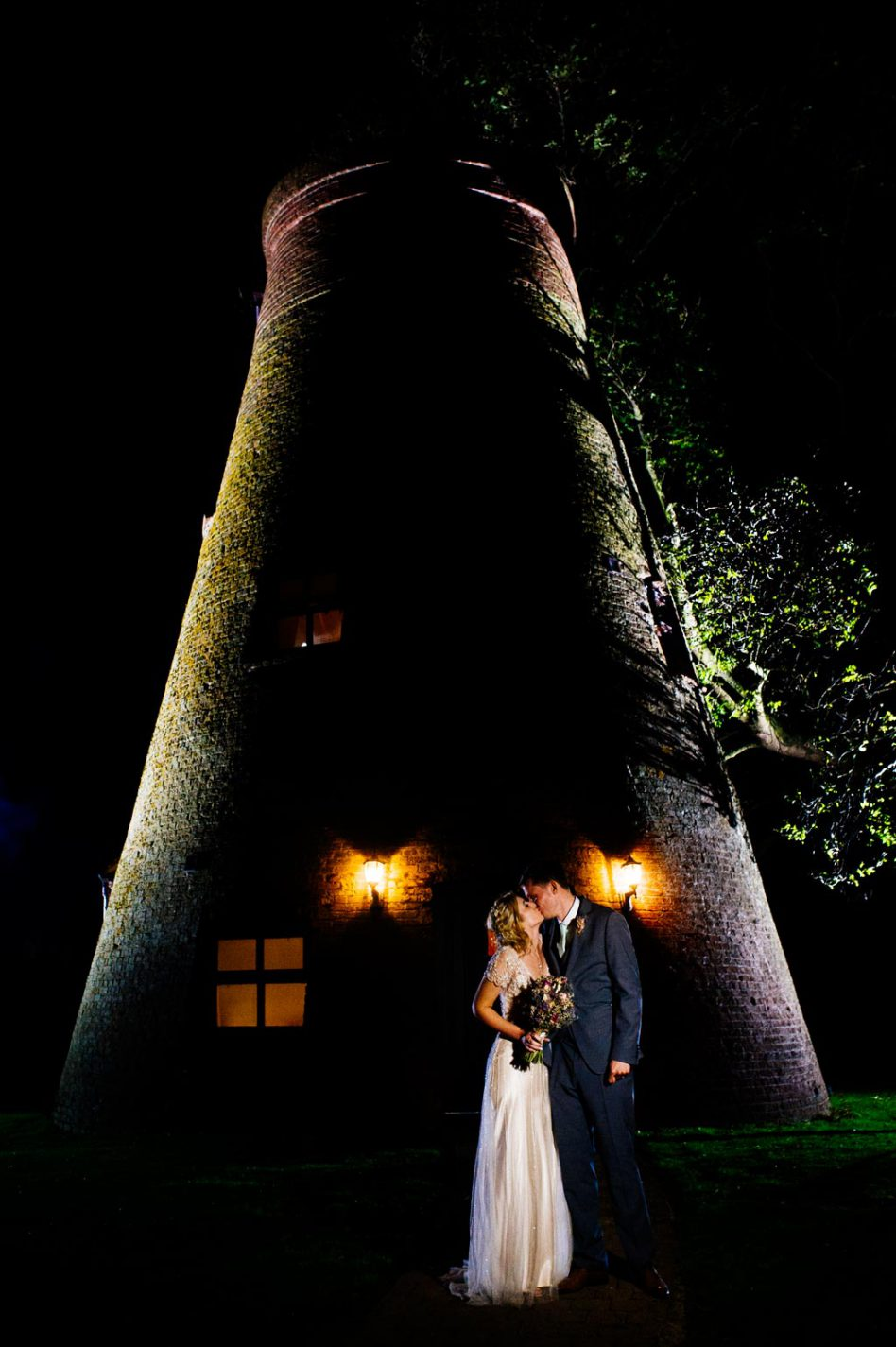 Fishlake Mill wedding venue at nighttime