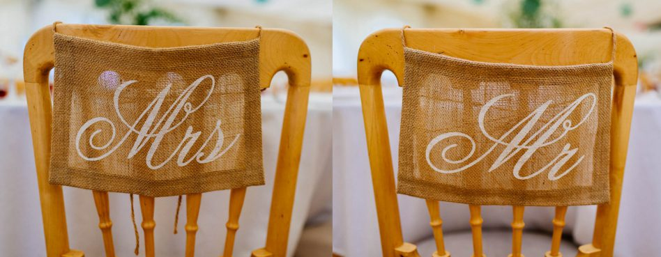 Rustic Mr and Mrs chair signs