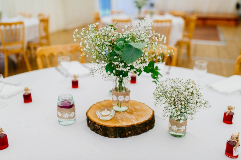 Wedding table decor at Fishlake Mill