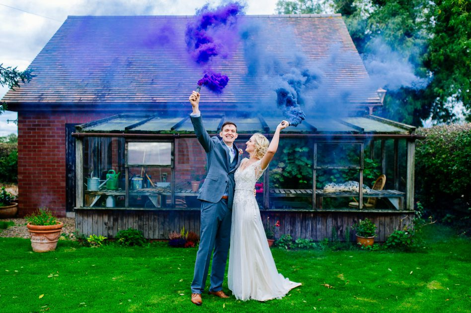 Smoke bombs on a wedding day