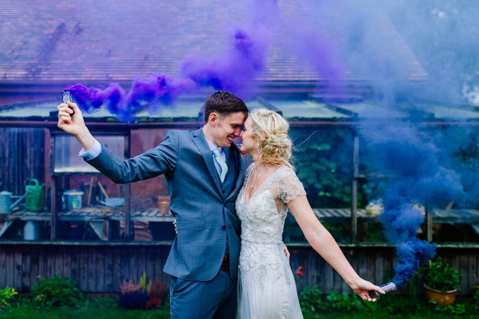 Smoke bombs wedding photography