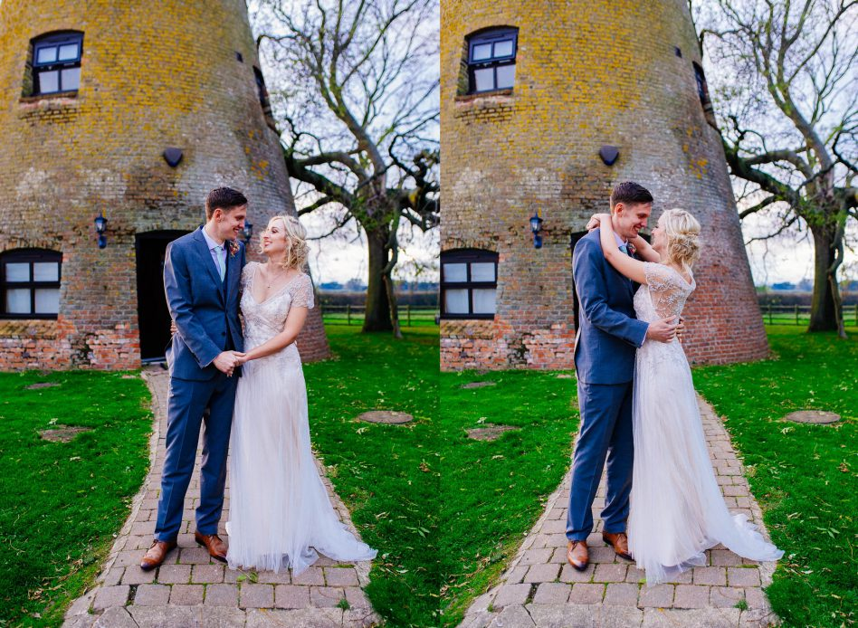 Bride and Groom posing at Fishlake Mill